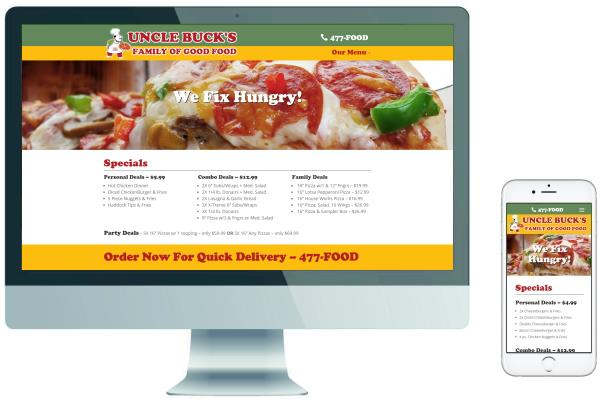 Responsive Pizza Shop  Website - Uncle Buck's Pizza